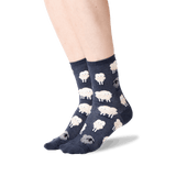 Women's Black Sheep Crew Socks in Denim Front