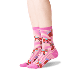 Women's Winter Foxes Crew Socks in Pink Front thumbnail