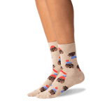 Women's Dressed Dogs Crew Socks in Hemp Heather Front