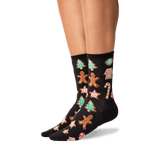 Women's Christmas Cookies Crew Socks in Black Front thumbnail