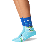 Women's Iceland Crew Socks in Bright Blue Front thumbnail