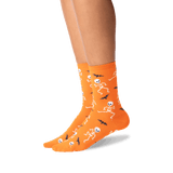 Women's Dancing Skeletons Crew Socks in Orange Front thumbnail