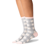 Women's Buffalo Check Crew Socks in Blush Front