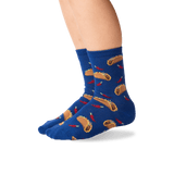 Kid's Tacos Crew Socks in Dark Blue Front thumbnail