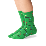 Kid's Golf Crew Socks in Green Front thumbnail