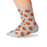 Kid's Basketball Crew Socks in Gray Heather Front thumbnail