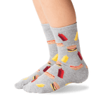 Kid's BBQ Crew Socks in Gray Heather Front thumbnail