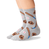 Kid's Baseball Crew Socks in Gray Heather Front thumbnail