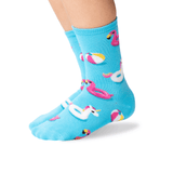 Kid's Pool Floats Crew Socks in Aqua Front thumbnail