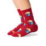 Kid's Popcorn Crew Socks in Red Front thumbnail