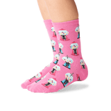 Kid's Gumballs Crew Socks in Pink Front