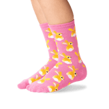 Kid's Bunny Tails Crew Socks in Pink Front thumbnail