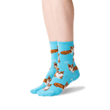 Women's Corgi Crew Socks in Aqua Front