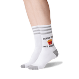 Women's Extra Fries Not Exercise Crew Socks in White Front