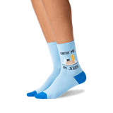 Women's Knish Me Crew Socks in Blue Front thumbnail