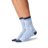 Women's Oy Vey Crew Socks in Blue Heather Front thumbnail