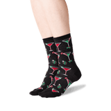 Women's Christmas Cocktails Crew Socks in Black Front thumbnail