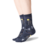 Women's Haunted House Crew Socks in Denim Front
