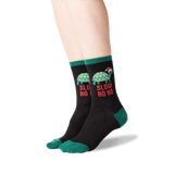 Women's Slow Ho Ho Socks in Black Front