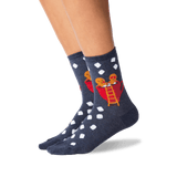 Women's Gingerbread Couple Crew Socks in Denim Front thumbnail