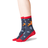 Women's Sleigh What Crew Socks in Denim Front