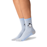 Women's Penguin Crew Socks in Blue Heather Front