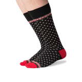 Men's Hearts Crew Socks in Black Front
