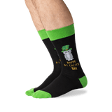 Men's Happy Saint Catty's Day Socks in Black Front thumbnail