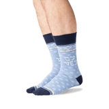 Men's Oy Vey Crew Socks in Blue Heather Front thumbnail