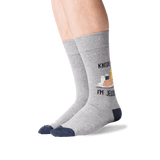 Men's Knish Me Crew Socks in Gray Heather Front