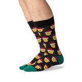 Men's Santa Smile Emoji Socks in Black Front