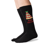 Men's Merry Crustmas Crew Socks in Black Front thumbnail
