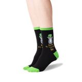 Women's Happy Saint Catty's Day Socks in Black Front thumbnail