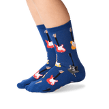 Kid's Guitars Crew Socks in Blue Front