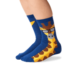 Kid's Giraffe Crew Socks in Blue Front thumbnail