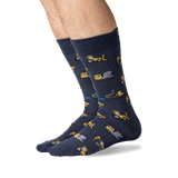 Men's Dump Trucks Crew Socks in Charcoal Front thumbnail