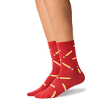 Women's Pencils Crew Socks in Red Front thumbnail