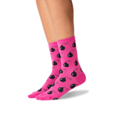Women's Time Bombs Crew Socks in Bright Pink Front