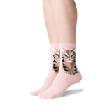 Women's Big Cat Crew Socks in Pale Rose Front