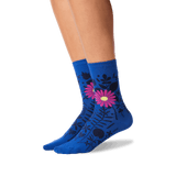 Women's Mixed Floral Crew Socks in Blue Front thumbnail