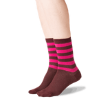 Women's Top Stripe Crew Socks in Burgundy Front thumbnail