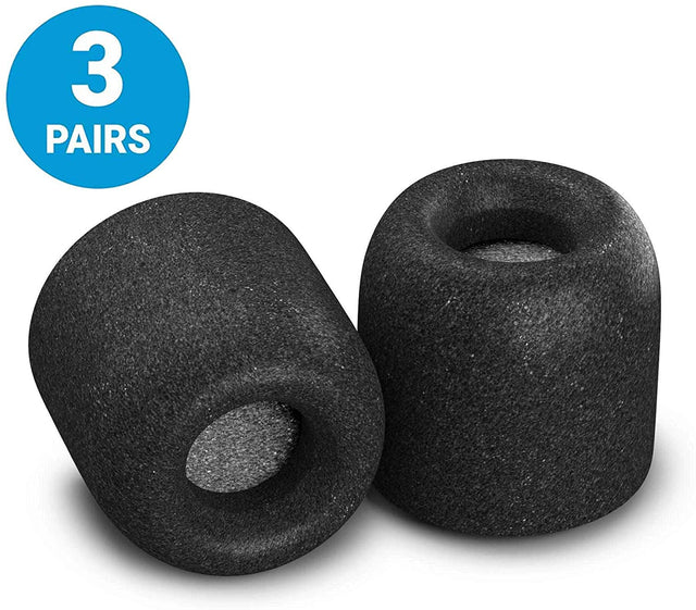 Comply Tx-500 Isolation Plus Foam Tips with Wax-Guard (3 Pairs - Medium - Black)
