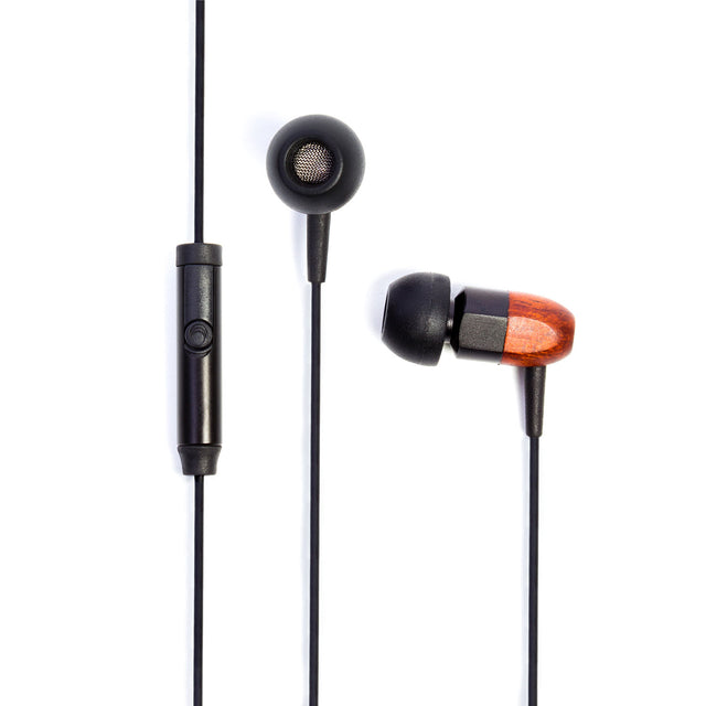 thinksound ts02+mic 8mm In-Ear Wooden Headphones with Mic (Black Chocolate)