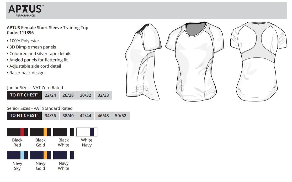 APTUS Female Short Sleeve Training Top - 111896