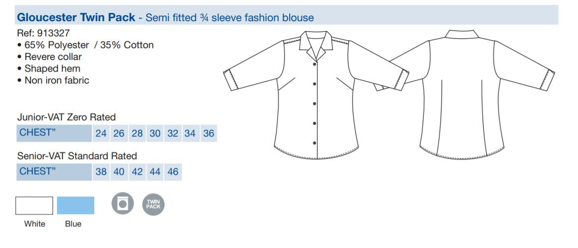 Gloucester Twin Pack - Semi fitted 3/4 sleeve fashion blouse - 913327