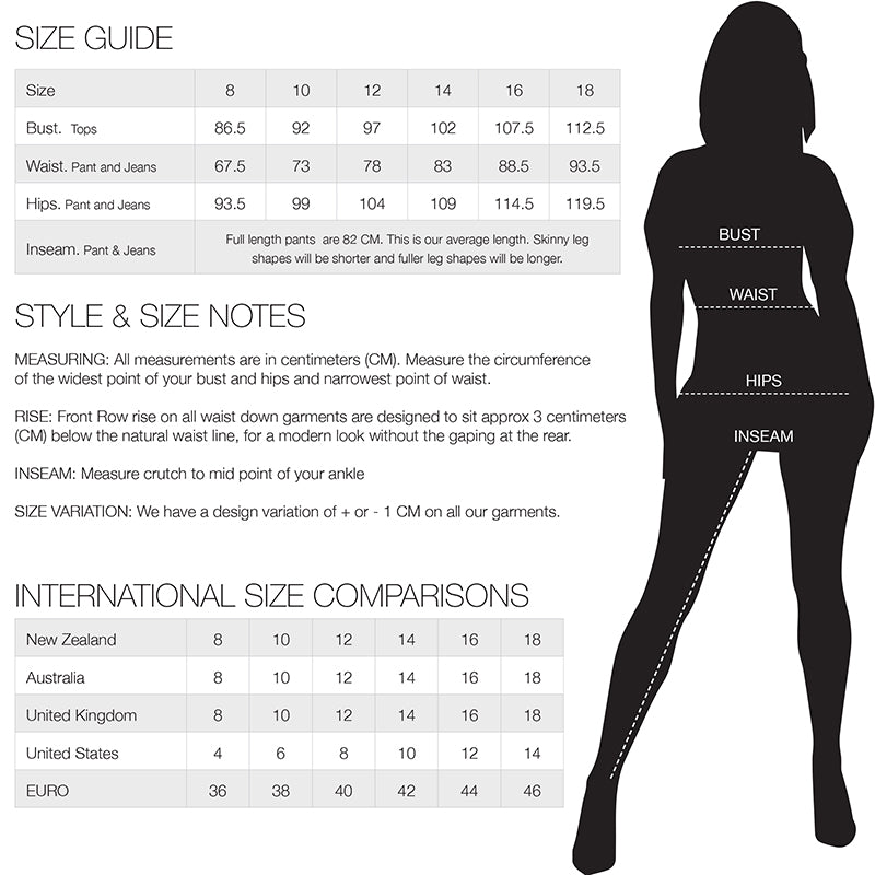 Front Row Size Guide