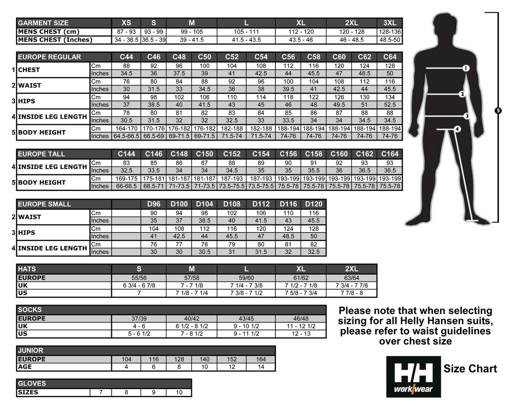Helly Hansen Size Guide