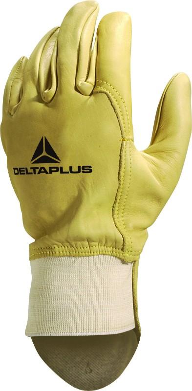 Delta Plus Unisex Cowhide Full Grain Leather With Ribbed Cuff Glove 52FEDFP