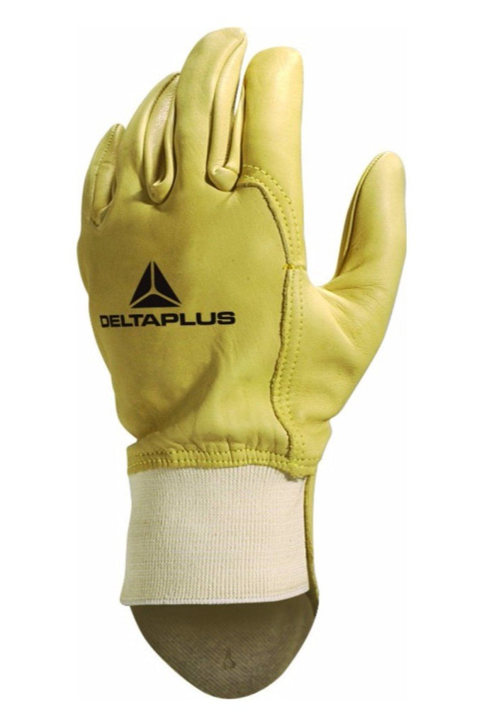 Delta Plus Unisex Cowhide Full Grain Leather With Ribbed Cuff Glove 52FEDFP Buff
