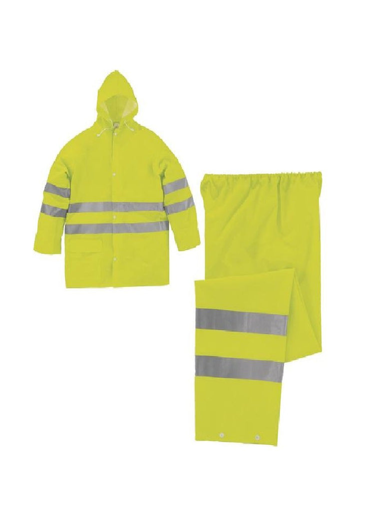 Delta Plus HV Outside PU/PVC Coated Polyester Rain Suit 604V2